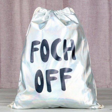 Holograficzny plecak typu worek z napisem - Plecaki