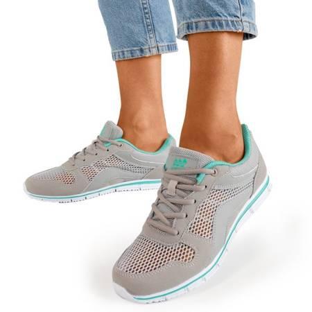 Jasnoszare sportowe buty damskie z miętowymi wstawkami Kannasi - Obuwie