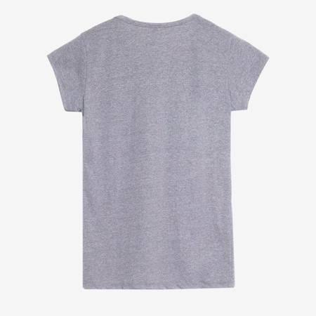 Jasnoszary t-shirt damski z nadrukiem - Odzież