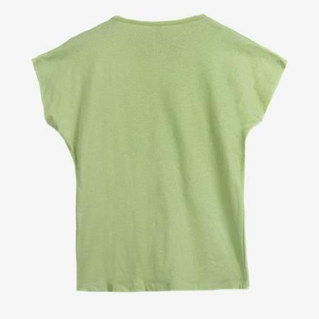 Jasnozielony t-shirt damski z nadrukiem - Odzież