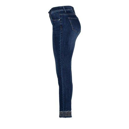 Jeansowe spodnie z ozdobnym haftem - Spodnie