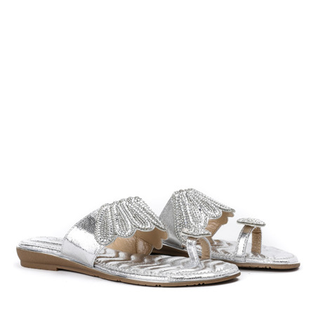 Klapki z ozdobami w kolorze srebrnym Precious - Obuwie