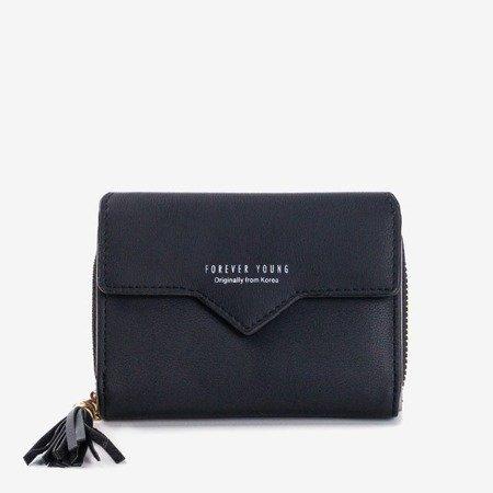 Mały czarny portfel damski - Portfel