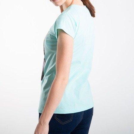 Miętowa koszulka z krótkim rękawem - Bluzki