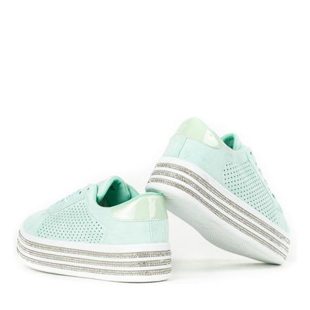 Miętowe buty sportowe na platformie Vahini - Obuwie
