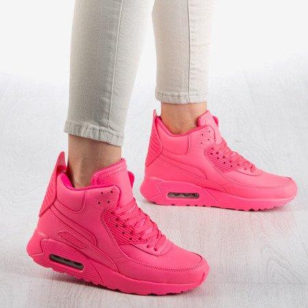 Neonowe różowe damskie buty sportowe za kostkę Verna