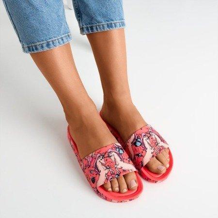 Neonowe różowe damskie klapki z motywem jednorożca Vienradzis - Obuwie