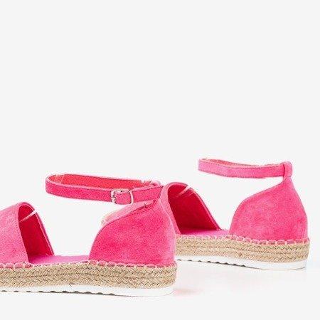 Neonowe różowe espadryle damskie na platformie Citiva - Obuwie
