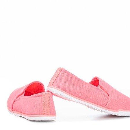 Neonowe różowe tenisówki slip-on dziecięce Swetselia - Obuwie