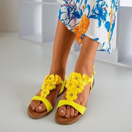 Neonowe żółte damskie sandały z kwiatami Madlen - Obuwie