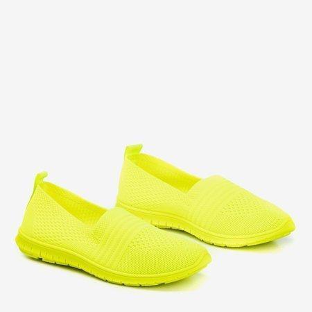 Neonowe żółte tenisówki slip-on damskie Colorful - Obuwie