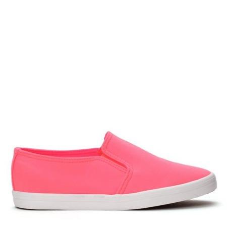 Neonowo-różowe tenisówki slip on - Obuwie