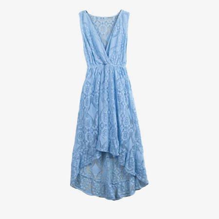 Niebieska koronkowa sukienka na ramiączka - Sukienki