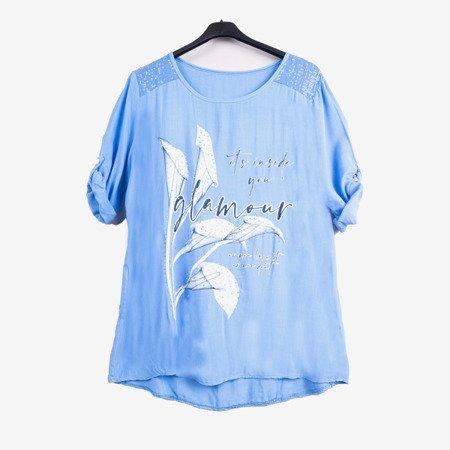 Niebieska tunika damska z printem i napisami - Odzież