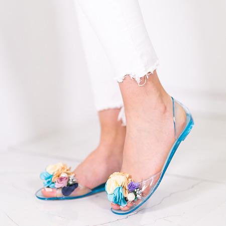 Niebieskie meliski z ozdobnymi kwiatkami Ruperta - Obuwie