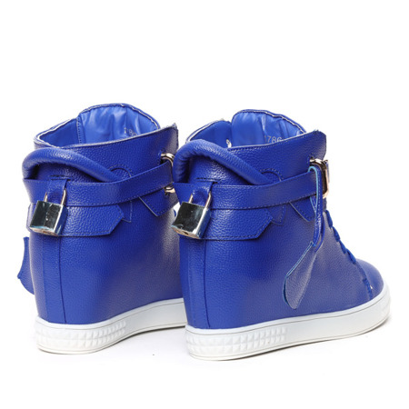 Niebieskie sneakersy na krytym koturnie - Obuwie