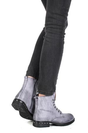 Niebieskie, sznurowane botki - Obuwie
