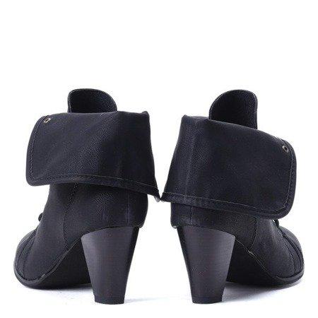 OUTLET Czarne botki na wyższym słupku z wywijaną cholewką Lily - Obuwie