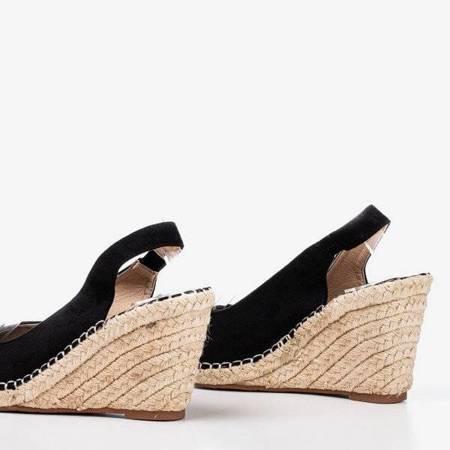 OUTLET Czarne damskie sandały na koturnie Lacasia - Obuwie