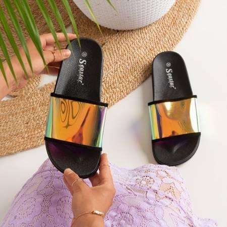 OUTLET Czarne klapki z holograficznym paskiem Blide - Obuwie