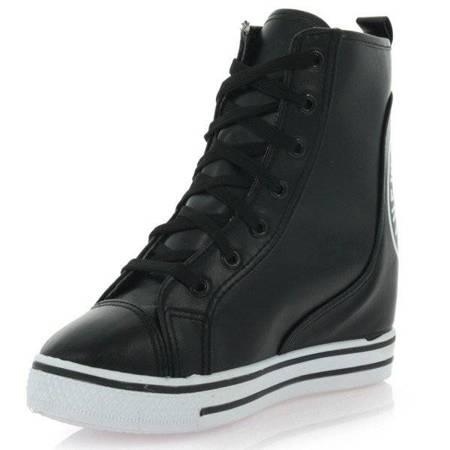 OUTLET Czarne sneakersy na koturnie Lasegreta - Obuwie