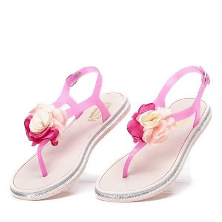 OUTLET Fuksjowe sandały z ozdobnym kwiatkiem Tatia - Obuwie