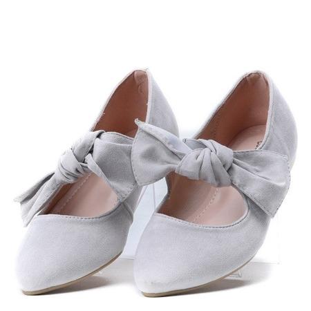 OUTLET Jasnoszare balerinki z kokardką Julianna - Obuwie
