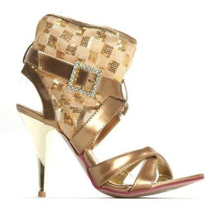 OUTLET Złote sandały z cholewką Golda - Obuwie
