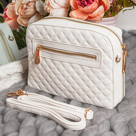 Pikowana torebka na ramię w kolorze białym - Torebki