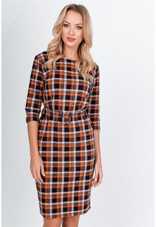 Pomarańczowa sukienka w kolorową kratkę - Odzież