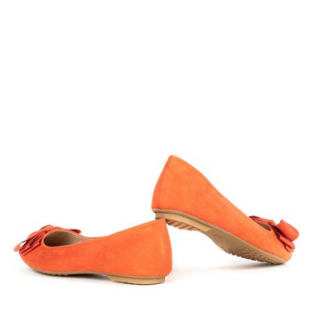 Pomarańczowe baleriny z kokardą Pelle - Obuwie