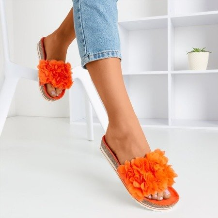 Pomarańczowe damskie klapki z kwiatkami Mastina - Obuwie