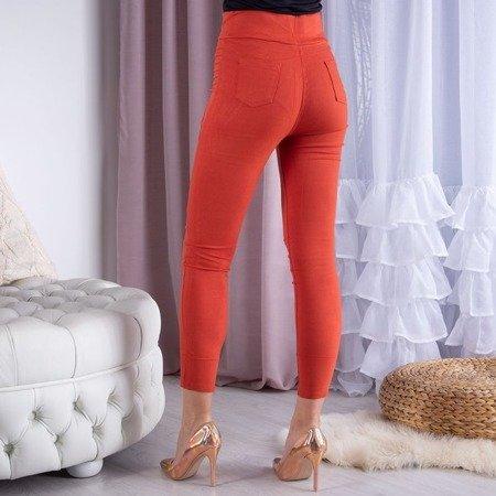 Pomarańczowe tregginsy z wysokim stanem - Spodnie