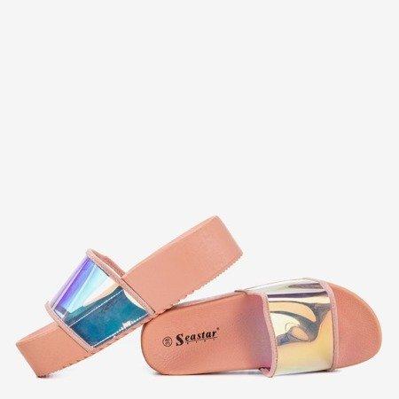 Pudrowe klapki na platformie z holograficznym wykończeniem Silviana - Obuwie