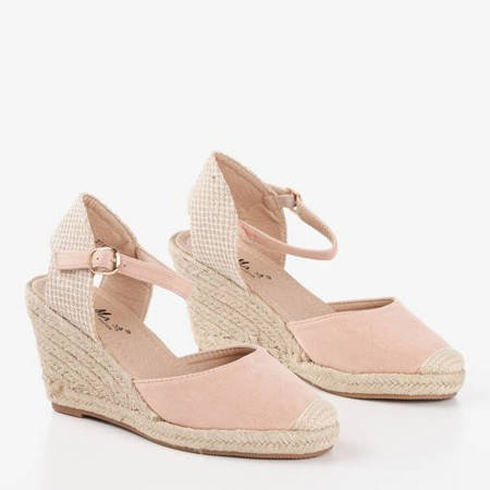 Pudrowe sandały na koturnie a'la espadryle Tidem - Obuwie