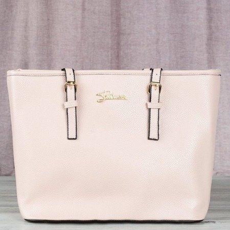 Różowa duża torba damska z napisem - Torebki