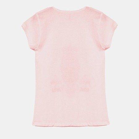 Różowa koszulka z krótkim rękawem - Bluzki
