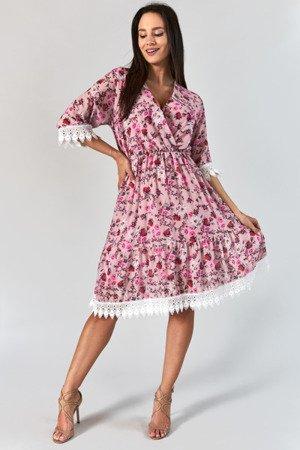 Różowa sukienka midi w kwiaty - Odzież