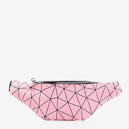 Różowa torebka typu nerka z geometrycznym wzorem - Torebki