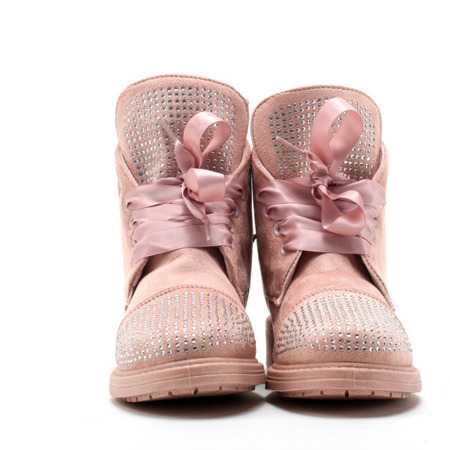 Różowe botki ze wstążką - Obuwie