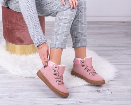 Różowe buty sportowe ocieplane Daniella - Obuwie