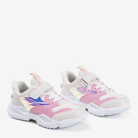 Różowe dziecięce sportowe buty z holograficznymi wstawkami Cessio - Obuwie