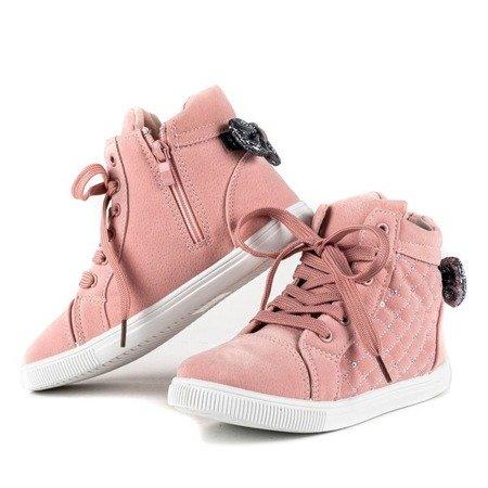 Różowe dziewczęce botki z kokardką Dafnna - Obuwie