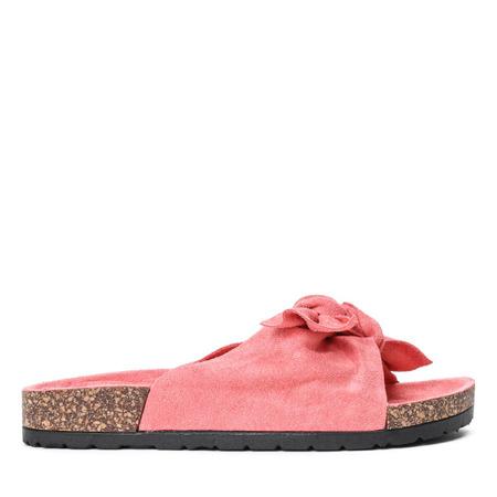 Różowe klapki z kokardką Summer Blow - Obuwie