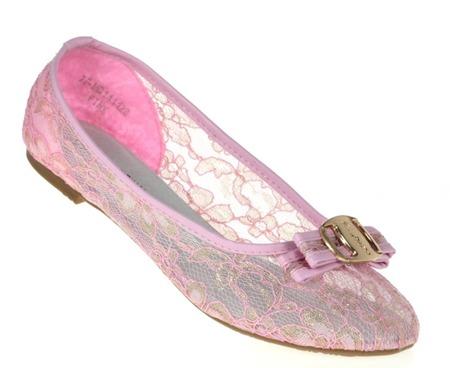 Różowe, klasyczne baleriny z kokardką - Obuwie