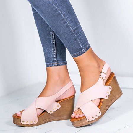 Różowe sandały na wysokiej koturnie Vaia - Obuwie