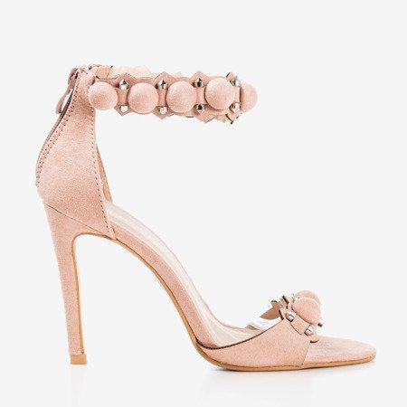 Różowe sandały na wyższej szpilce Poliase - Obuwie