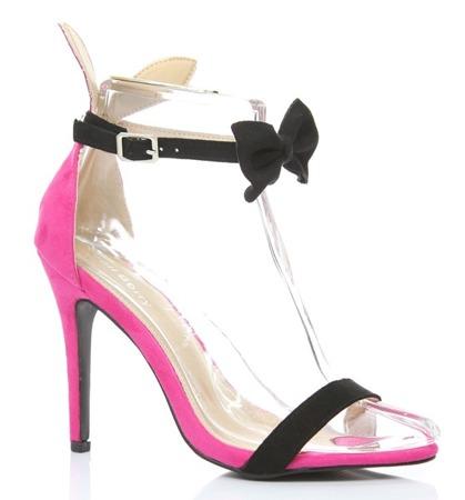 Różowe sandały z czarną kokardą Rokarde - Obuwie