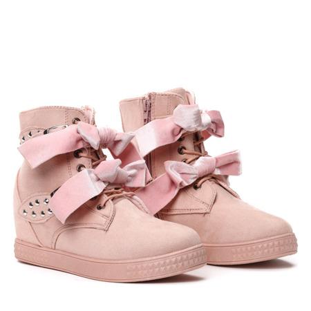 Różowe sneakersy na krytym koturnie Eleanor  - Obuwie