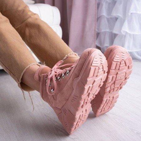 Różowe sneakersy na platformie Isbel - Obuwie